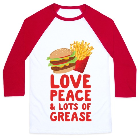 Love, Peace, & Lots of Grease Baseball Tee
