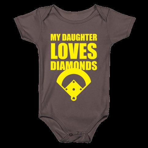 My Daughter Loves Diamonds (Softball) Baby One-Piece