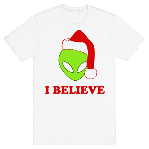 I Believe Christmas Aliens Mens T-Shirt