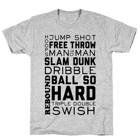 Basketball Typographic Mens T-Shirt