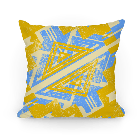 Blue and Yellow Aztec Pattern Pillow