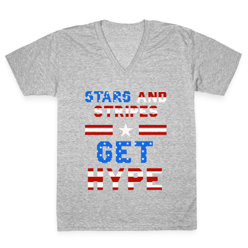 Stars And Stripes Get Hype V-Neck Tee Shirt