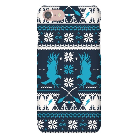 Hogwarts Ugly Christmas Sweater Pattern: Ravenclaw Phone Case