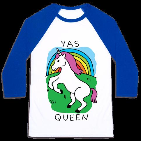 Yas Queen Unicorn Baseball Tee