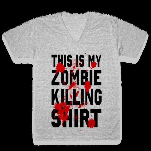 This is My Zombie Killing Shirt V-Neck Tee Shirt