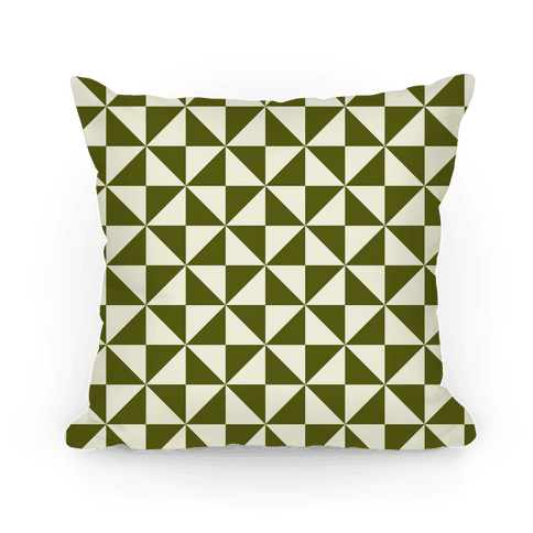 Green Large Pinwheel Pattern Pillow