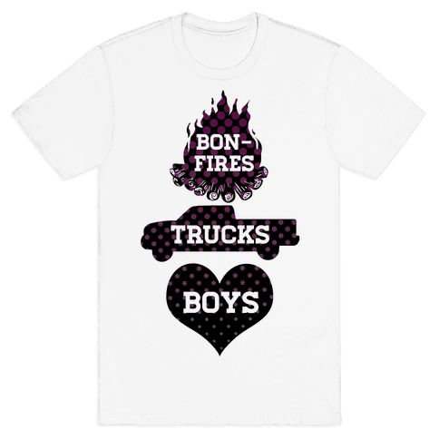 Bonfires, Trucks and Boys Mens T-Shirt