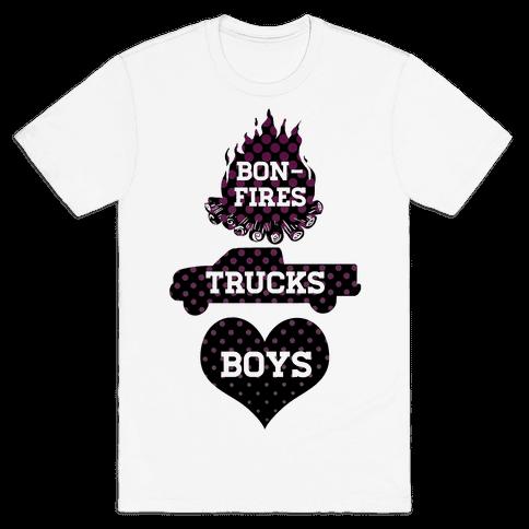 Bonfires, Trucks and Boys Mens T-Shirt