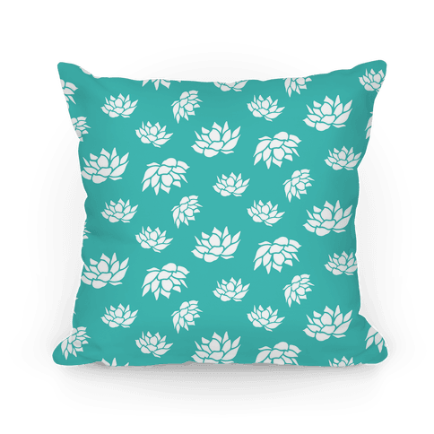 Blue Lotus Flower Pattern Pillow