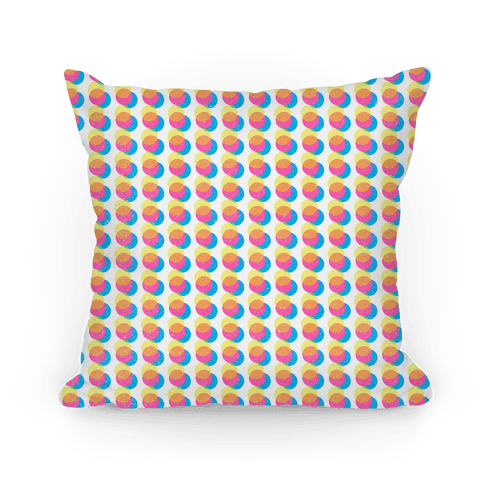 Cyan Magenta Yellow Polka Dot Pattern Pillow