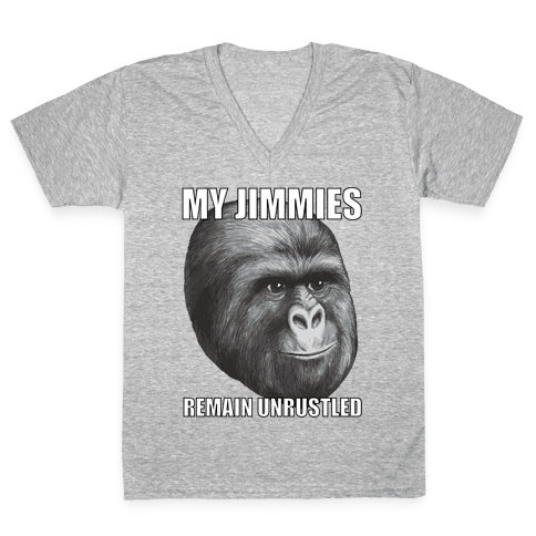My Jimmies Remain Unrustled V-Neck Tee Shirt