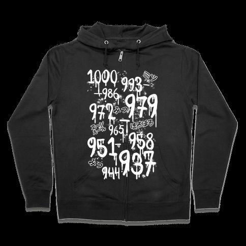 1000 Minus 7 Zip Hoodie