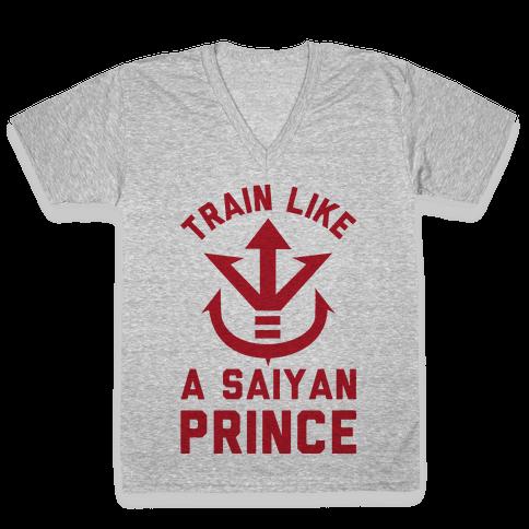 Train Like A Saiyan Prince V-Neck Tee Shirt