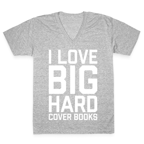 I Love Big Hardcover Books V-Neck Tee Shirt