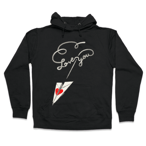 Love Letter Paper Airplane Hooded Sweatshirt