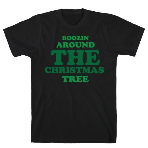 BOOZIN AROUND THE CHRISTMAS TREE (dark) Mens T-Shirt