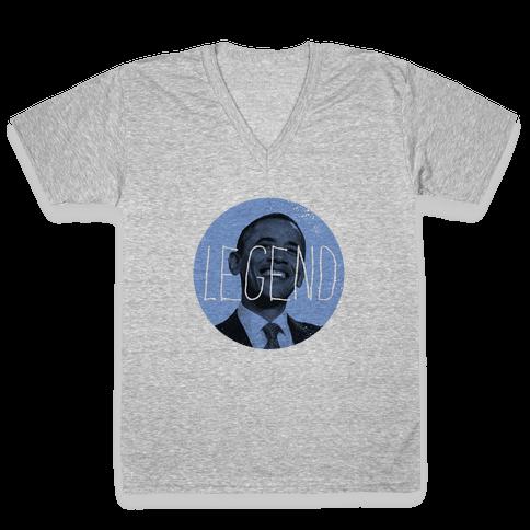Obama the Legend V-Neck Tee Shirt