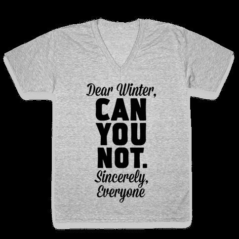 Dear Winter V-Neck Tee Shirt