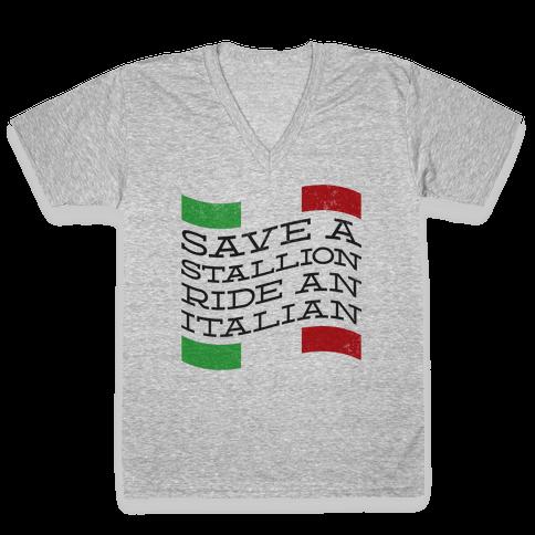 Save a Stallion (tank) V-Neck Tee Shirt