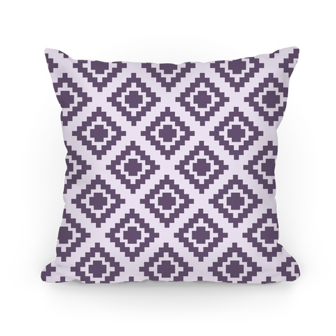Purple Tribal Diamond Pattern Pillow