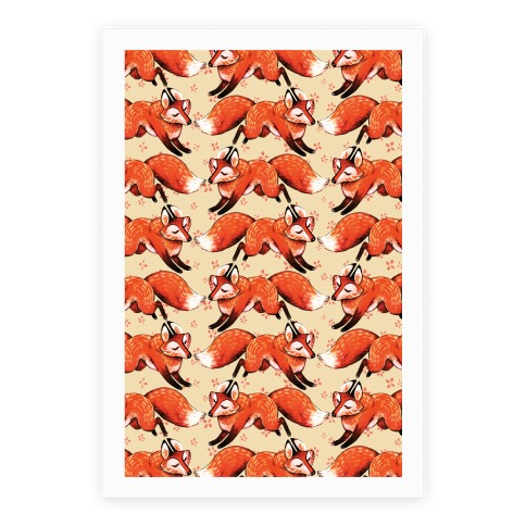 Running Foxes Pattern Poster