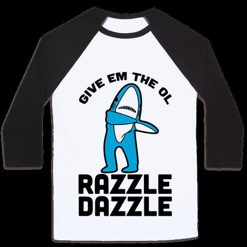 Left Shark Razzle Dazzle Baseball Tee