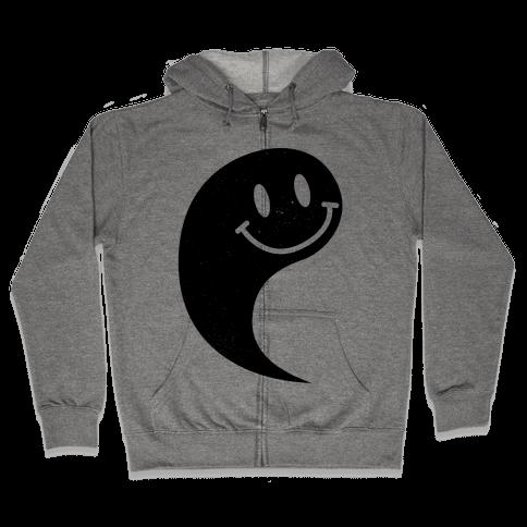 Smiley Yin Yang 1 Zip Hoodie