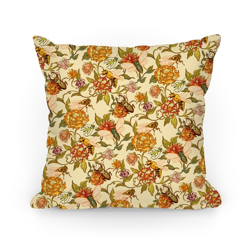 Florals & Hidden Insects Pillow