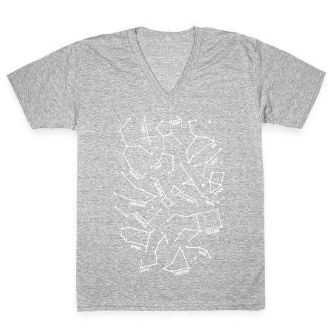 Constellation Star Pattern V-Neck Tee Shirt