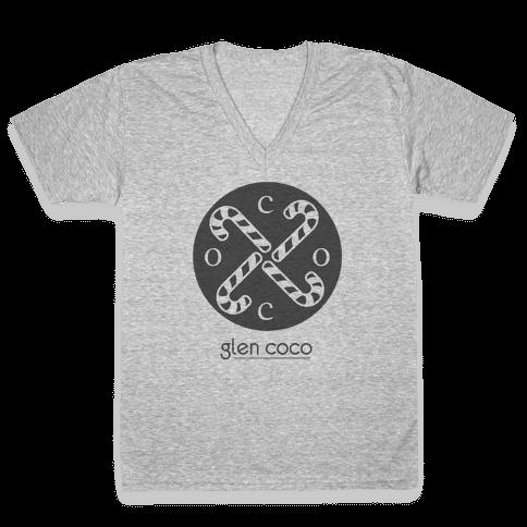 Hipster Coco Logo V-Neck Tee Shirt