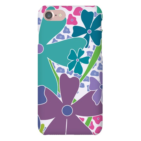 Purple Happy Flowers Pattern Phone Case
