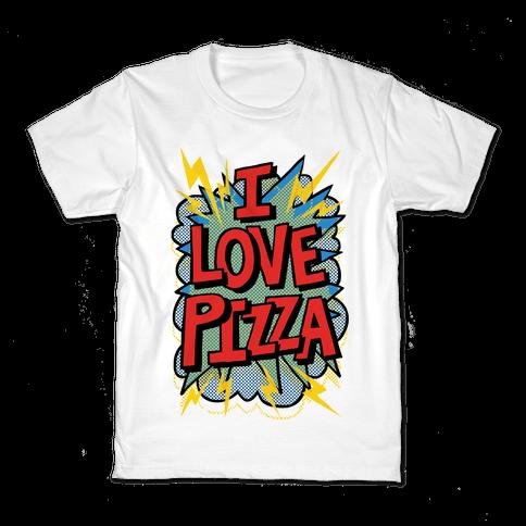 I Love Pizza Pop Art Kids T-Shirt