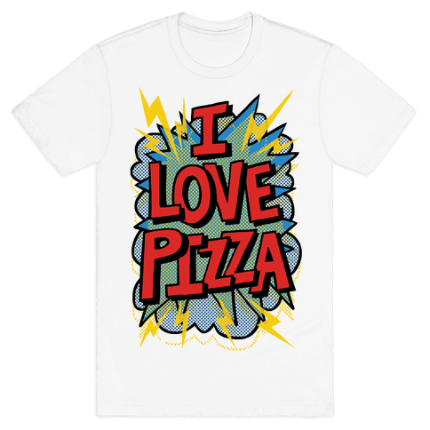 I Love Pizza Pop Art Mens T-Shirt