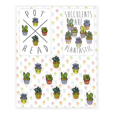Succulent Pattern Sticker and Decal Sheet