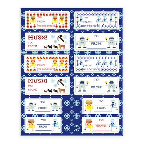 Christmas Gift Tags Sticker/Decal Sheet