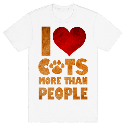 I Heart Cats More Than People Mens T-Shirt