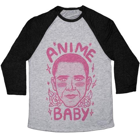 Anime Baby Obama Baseball Tee