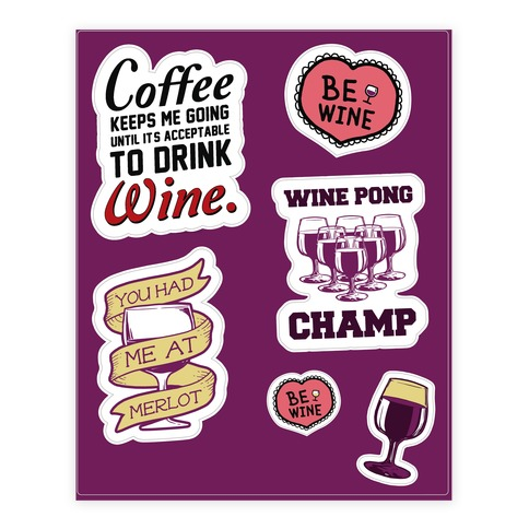 Wine Lover's  Sticker/Decal Sheet