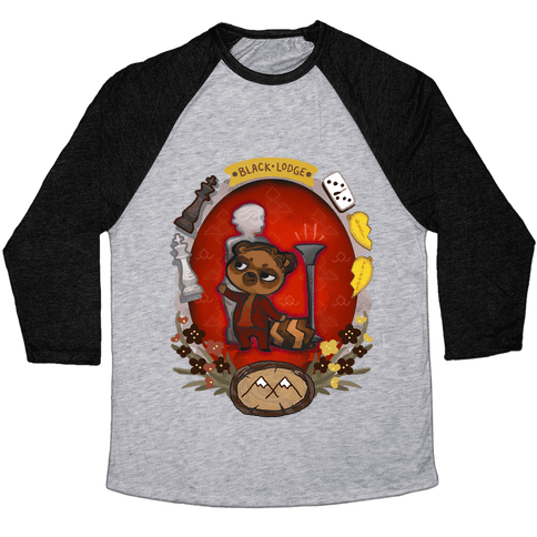 Black Lodge Racoon Baseball Tee