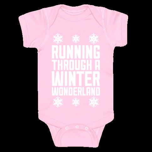 Running Through A Winter Wonderland Baby Onesy