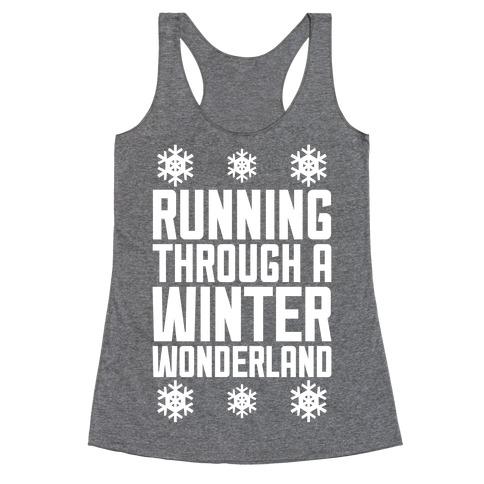 Running Through A Winter Wonderland Racerback Tank Top