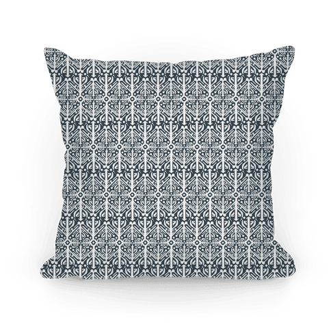 Black and White Medieval Pattern Pillow