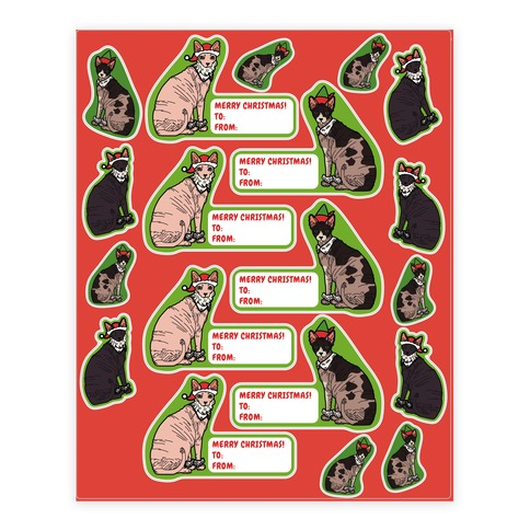 Hairless Cat Christmas Gift Tag  Sticker/Decal Sheet
