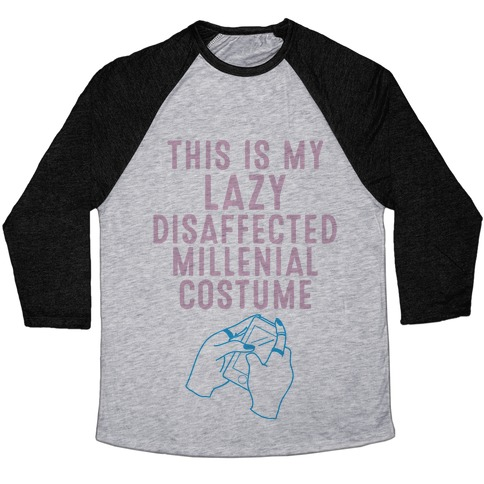 Lazy Millenial Costume Baseball Tee