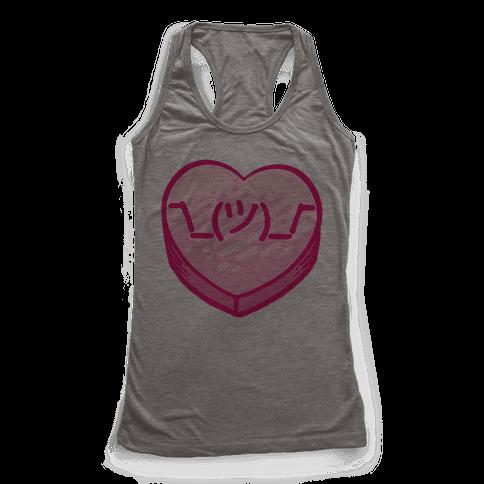 Shrug Emoticon Conversation Heart Racerback Tank Top