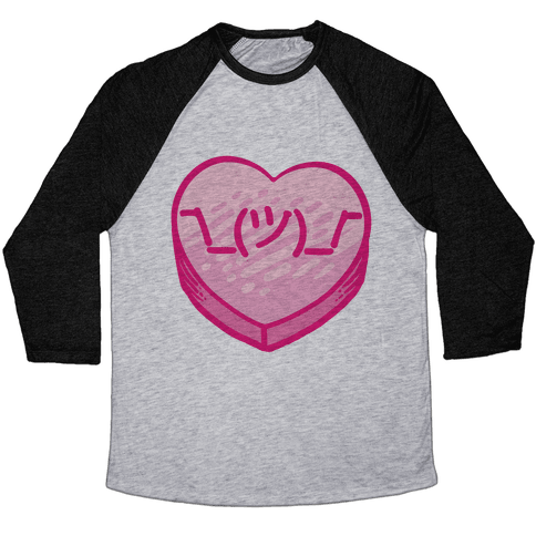 Shrug Emoticon Conversation Heart Baseball Tee