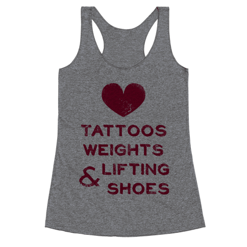Love Tattoos Weights & Lifting Shoes Racerback Tank Top