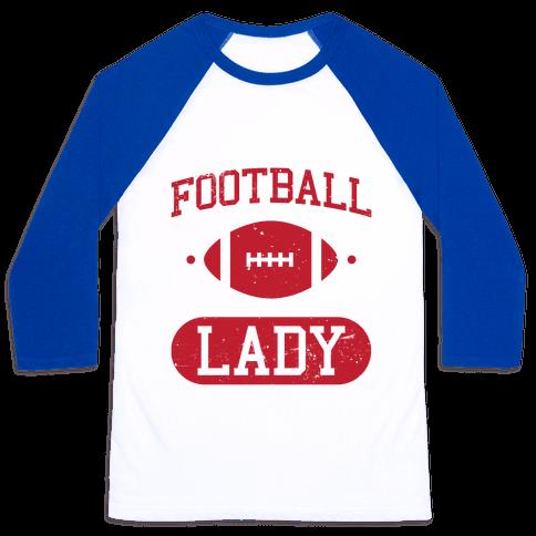 Football Lady Baseball Tee