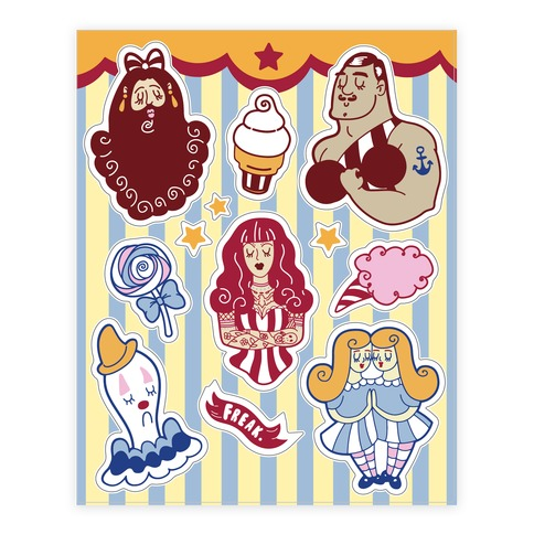 Circus Freaks Sticker/Decal Sheet