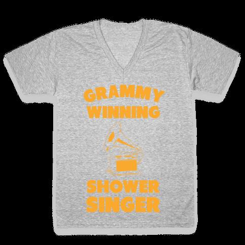 Grammy Winning Shower Singer V-Neck Tee Shirt